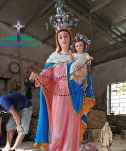 Tượng Đức Mẹ Maria Bế Chúa Sơn Màu TM97