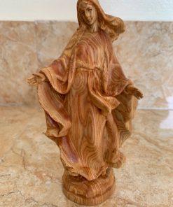 Tượng Đức Mẹ Lên Trời Bằng Gỗ 15cm TM96
