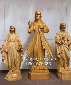 Tượng Lòng Chúa Thương Xót, Đức Mẹ, Thánh Giuse Bằng Gỗ TG01