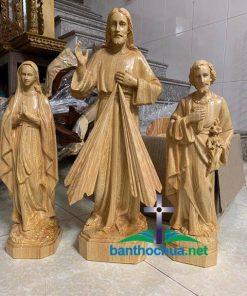 Tượng Lòng Thương Xót, Đức Mẹ Lộ Đức, Thánh Giuse Thợ Bằng Gỗ TC52